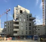 Facade sur Dalle Jardin Ilot du Cedre - batiment B1 - MAS PGO Atelier VongDC - Julie Howard & Sam Mays Architects