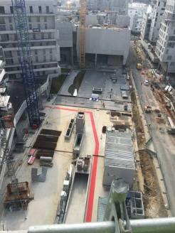 """Le """"parcours"""" en rouge sur la fond du future Place du Grand Ouest...."""